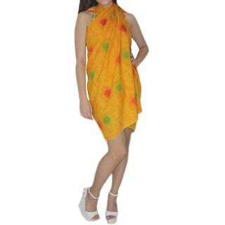 La Leela Women's Yellow Shell Design Hawaiian Sarong Pareo Cover-up