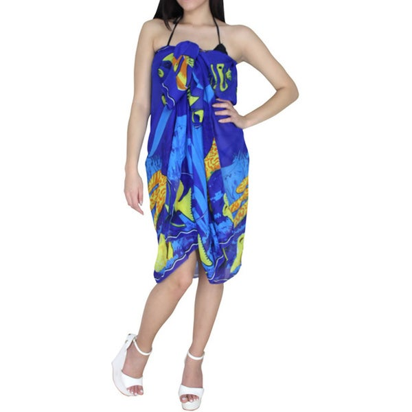 La Leela Women's Chiffon Blue Sea Theme Beach Swim Sarong Cover-up