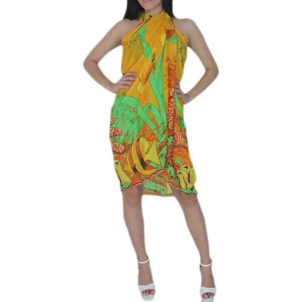 La Leela Women's Orange Chiffon Sea Theme Beach Sarong Cover-up