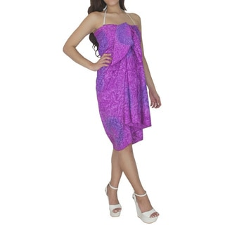 La Leela Women's Purple Swirl Beach Swim Sarong Cover-up