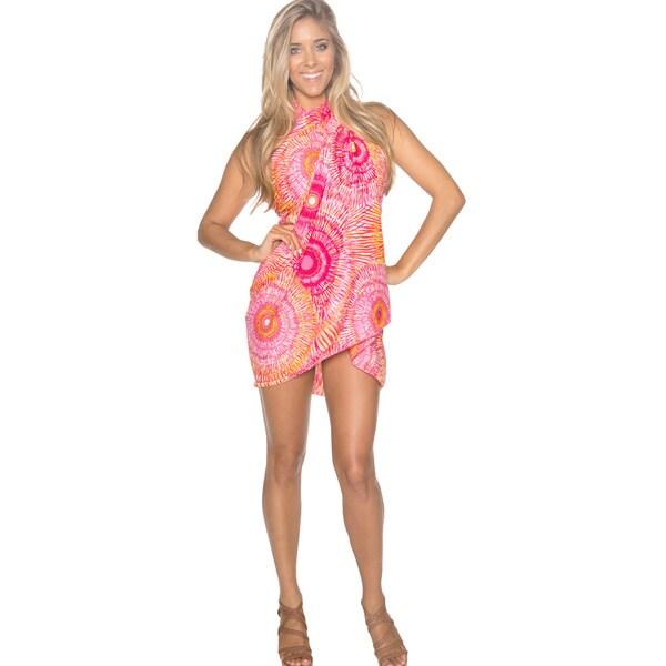 La Leela Self Printed Beach Swim Hawaiian Sarong Pareo Pink
