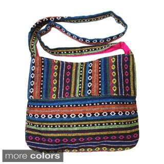 Olivia Miller Large Woven Fabric Pleated Bottom Aztec Print Crossbody Bag
