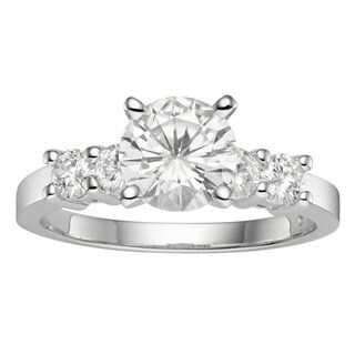 Charles & Colvard 14k Gold 1.40 TGW Round Forever Brilliant Moissanite Solitaire Ring with Sidestones