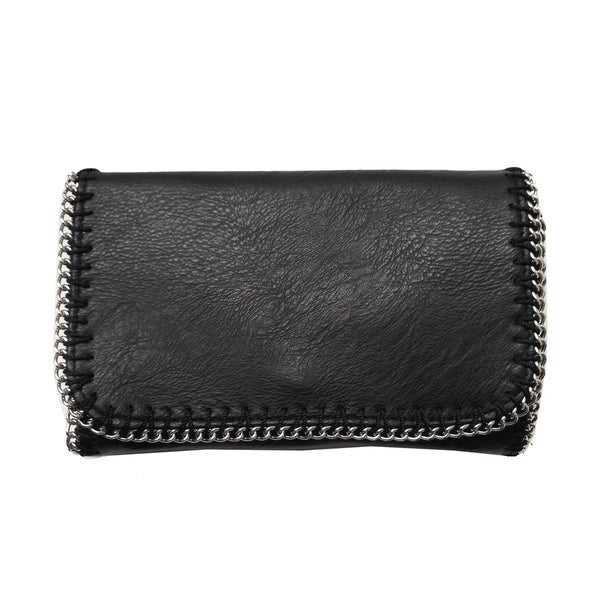 Olivia Miller Black Chain-trim Crossbody Clutch