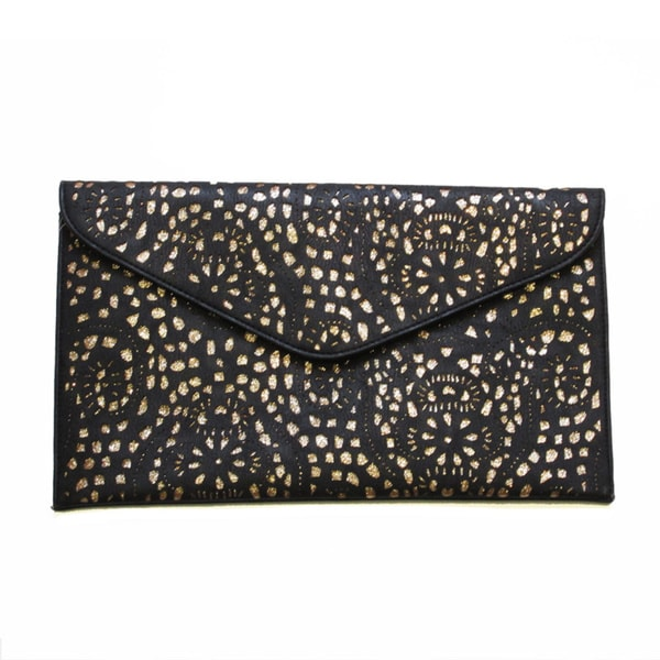 Olivia Miller Laser-cut Envelope Clutch with Glitter Underlay