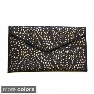 Olivia Miller Laser-cut Envelope Clutch with Glitter Underlay