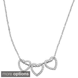 Sterling Silver Cubic Zirconia Micropave Triple Heart Necklace