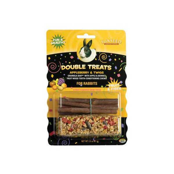 Sun Seed Company Double Treats Apple Berry And Twigs 3Oz - Rabbit
