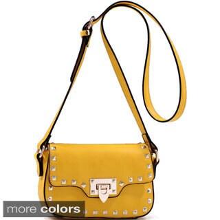 Dasein Adjustable Buckle Strap Studded Messenger Bag