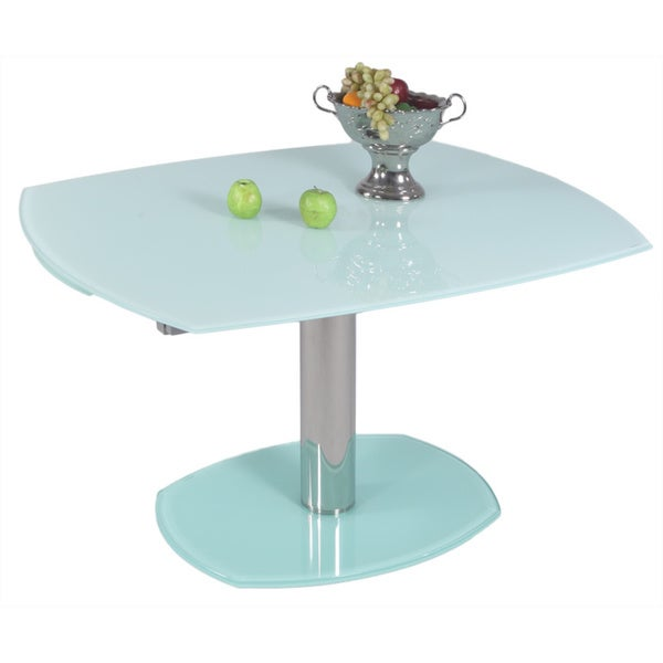 Somette Tasmin White Glass Extendable Dining Table