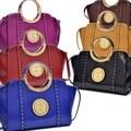 Dasein Deep Gloss Gold Tone Studded Winged Emblem Bag