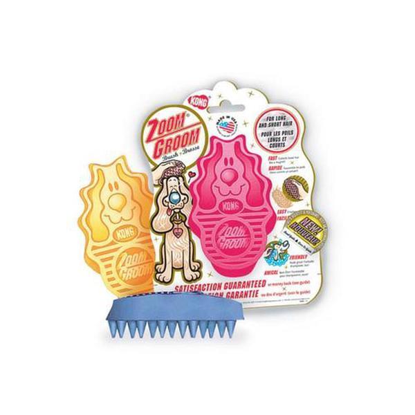 Kong Company Zoom Groom Firm Rubber Dog Brush Boysenberry