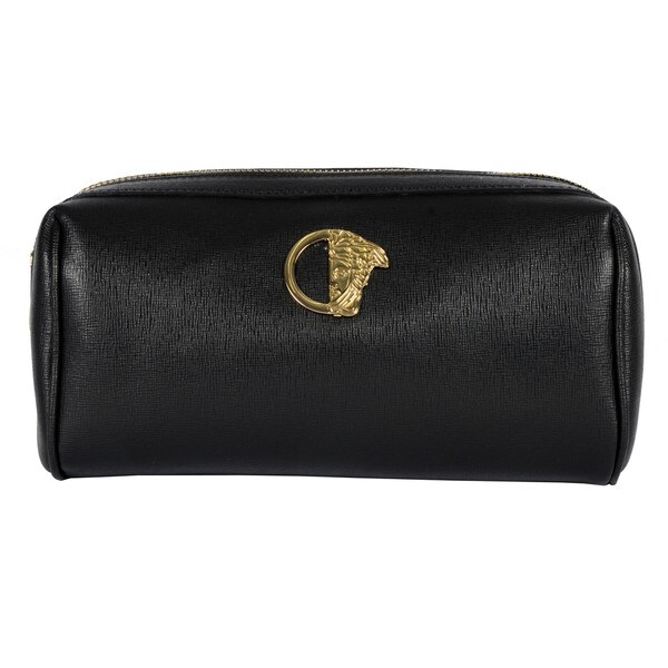 Versace Collection Black Leather Toiletry Bag
