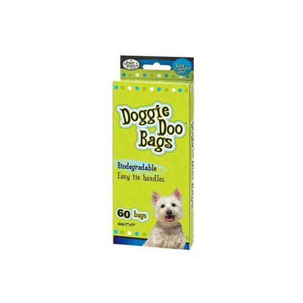 Four Paws Pet Products Doggie Doo Bags Biodegradable 60Ct