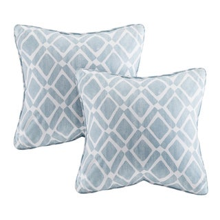 Madison Park Ella Printed Blue 20-inch Pillows (Set of 2)