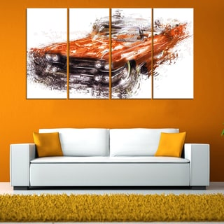 Burnt Orange Classic Car' 4-piece Gallery-wrapped Canvas