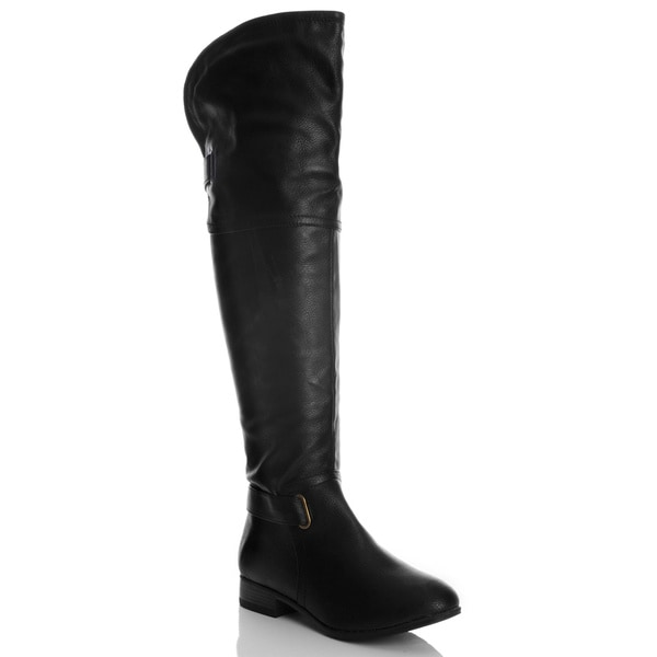 NY VIP Women's Pebbled Over-the-knee Black Riding Boots in Size 8.5 (As Is Item)