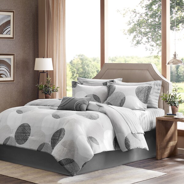 Madison Park Glendale 9-piece Grey Bed in a Bag with Sheet Set - Full Size (As Is Item)
