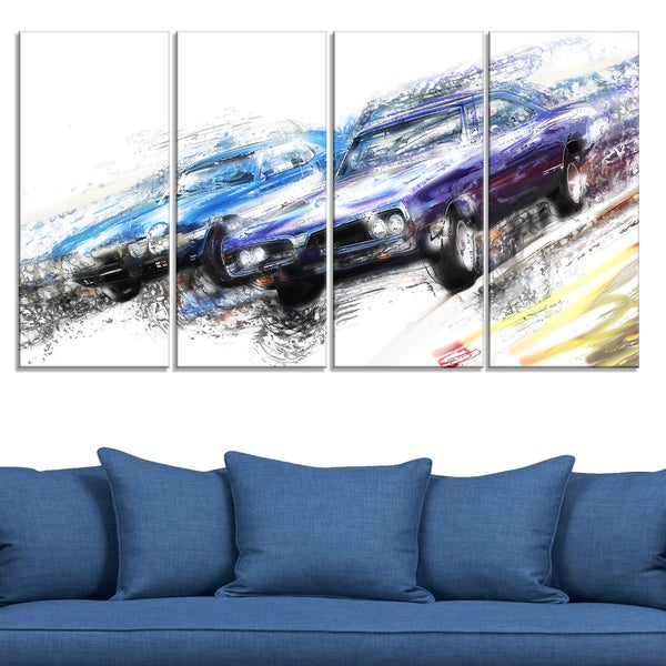Finish Line - Muscle Car Race' 4-piece Gallery-wrapped Canvas