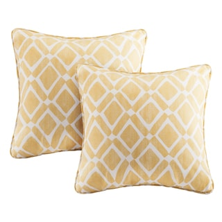Madison Park Ella Printed Yellow 20-inch Pillows (Set of 2)
