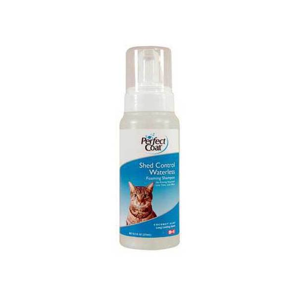 8 In 1 Pet Products Perfect Coat Shed Foaming Waterless Shampoo 8.5 Oz (Bottle)