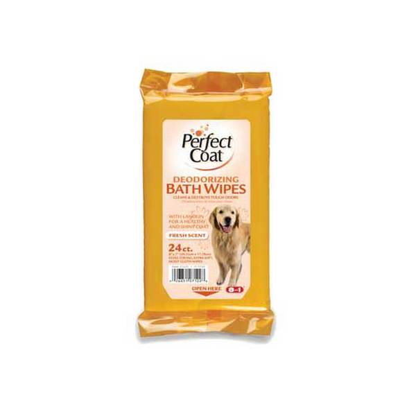 8 In 1 Pet Products Perfect Coat Bath Wipes Deod Dog 24Pk