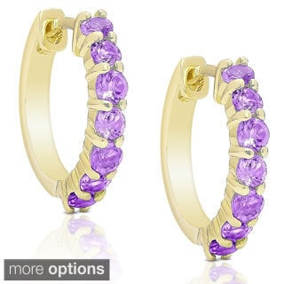 Dolce Giavonna Gold Over Sterling Silver Gemstone Hoop Earrings