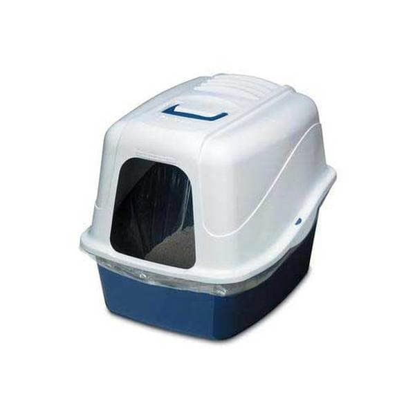 Dosckocil (Petmate) Litter Pan Hooded White/Blue Jumbo