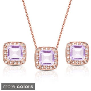 Dolce Giavonna Square Gemstone and Cubic Zirconia Necklace and Earrings Set
