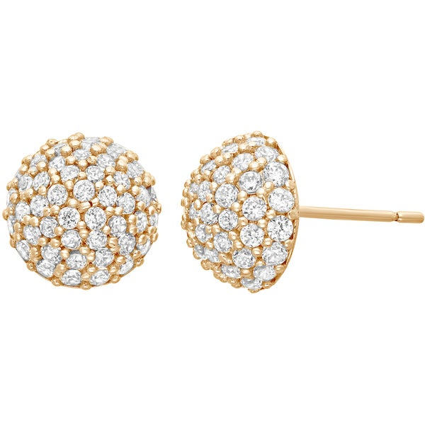 10k Yellow Gold Cubic Zirconia Dome Stud Earrings