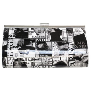Olivia Miller Patent Magazine Printed Clutch Black and White