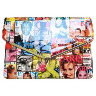 Olivia Miller Magazine Printed Envelope Frame Clutch