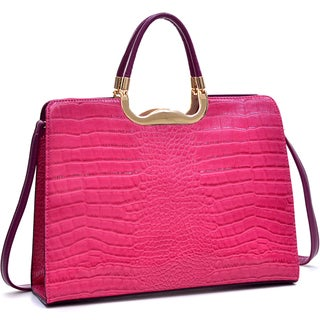 Dasein Rolled Handle Faux Croc Removable Shoulder Strap Briefcase