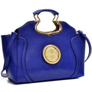 Dasein Drop Handle Deep Gloss Removable Shoulder Strap Winged Handbag