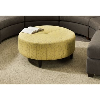 Made to Order Bauhaus Anniston Linear Fusion Yellow Round Cocktail Ottoman