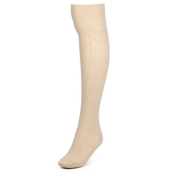 Journee Collection Women's Cable Knit Over-the-Knee Socks