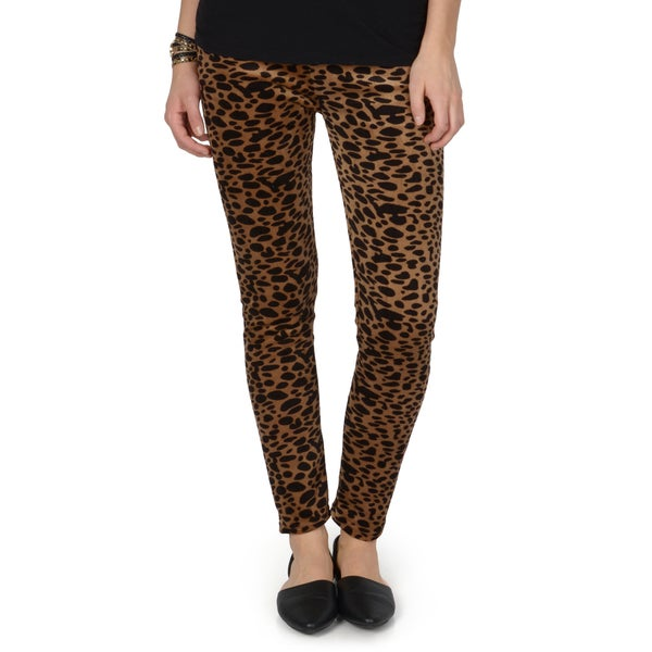 Hailey Jeans Co. Junior's Leopard Print Faux Fur Lined Leggings