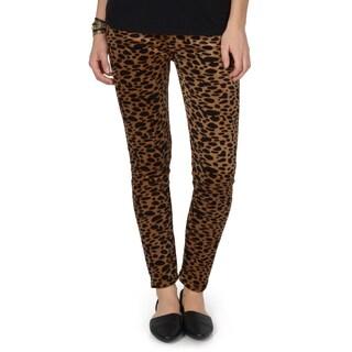 Hailey Jeans Co. Junior's Leopard Print Faux Fur Lined Leggings