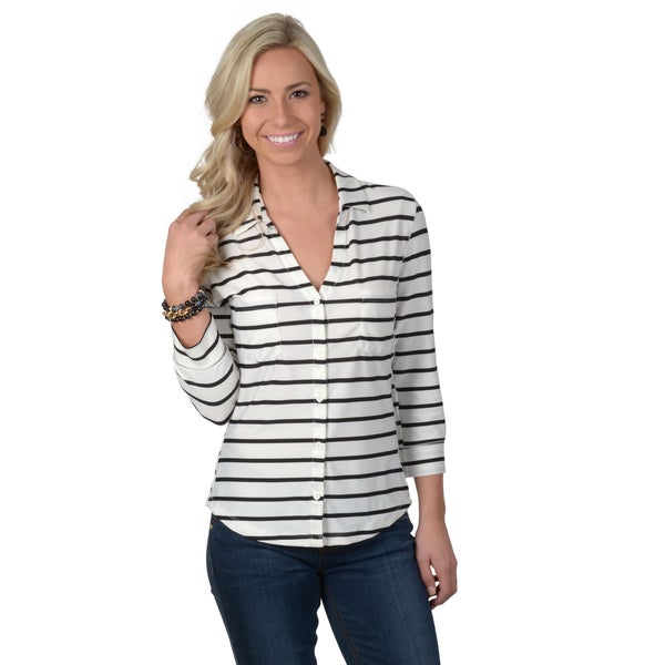Hailey Jeans Co. Junior's Striped Three-quarter Sleeve Button-up Top