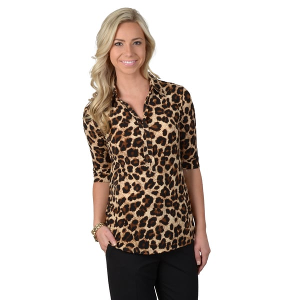 Journee Collection Women's Half-sleeve Split Collar Cheetah Print Top
