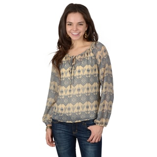 Hailey Jeans Co. Junior's Southwest Print Peasant Blouse