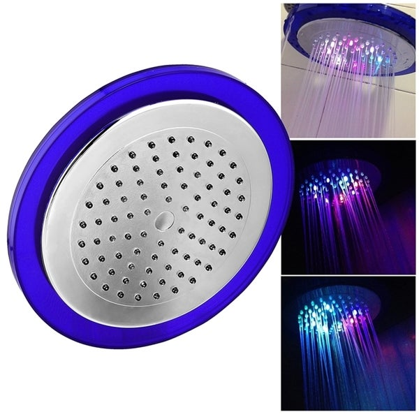INSTEN 8-inch Silver 7 Colors Automatic Changing LED Round Shower Head