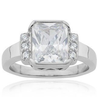 Stainless Steel Radiant-cut Cubic Zirconia Bridal Engagement Ring