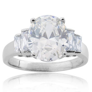 Stainless Steel Oval-cut Cubic Zirconia Bridal-style Ring