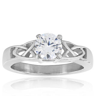 Stainless Steel Cubic Zirconia Solitaire Eternity Knot Engagement-style Ring