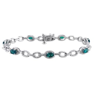 Miadora Sterling Silver Created Emerald Bracelet