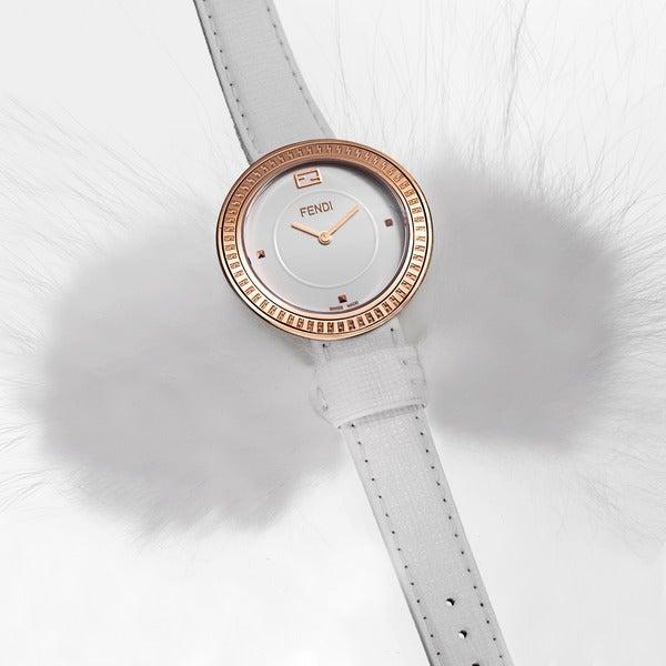 Fendi Women's F350534041 'MyWay' White Dial White Leather Strap Quartz Watch