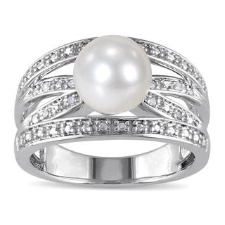 Miadora Silver Cultured Pearl and Diamond Accent Ring (9-9.5 mm) (H-I, I2-I3)