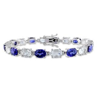 Miadora Sterling Silver Created Sapphire and White Topaz Bracelet