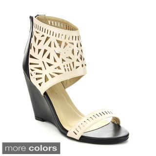 Queen Chateau ESTINA-3 Women's Two-tone Cut-out Ankle Cuff Wedges